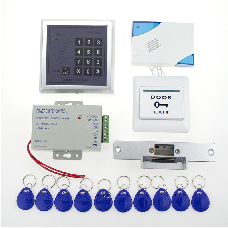Free shipping 13.56khz full rfid access control system access control keypad+power+electronic strike lock+door button+bell+keys(China (Mainland))