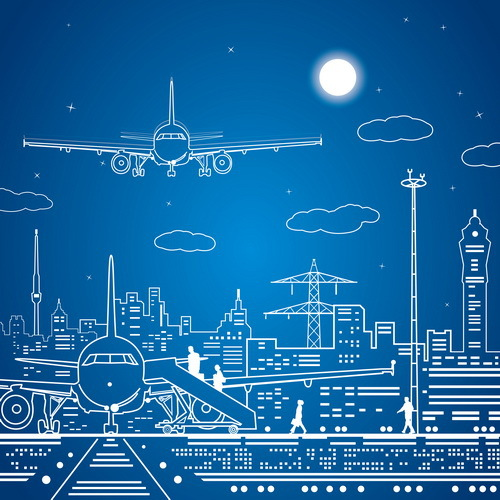 10x10FT Airport Plane Tower Sketch Line Drawing Blue Sky Moon Clouds Custom Photography Studio Backdrop Backgrounds Vinyl 3x3m(China (Mainland))