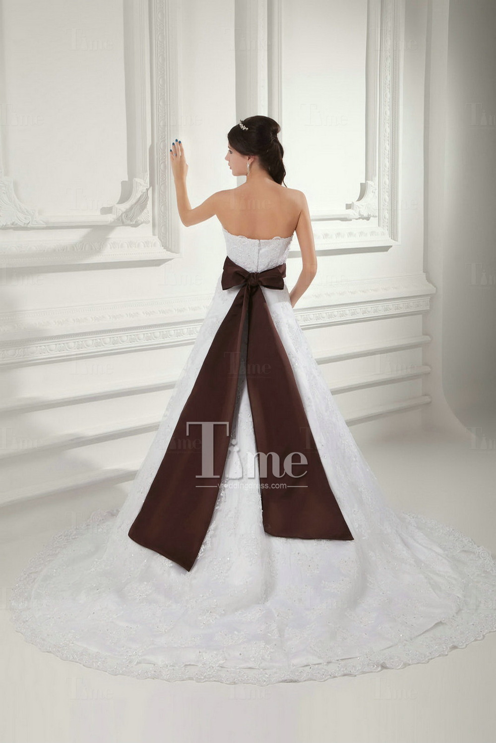 white and brown wedding dress