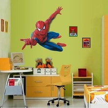 3D Cartoon Spiderman Hero Wall Stickers Removable Vinly Wallpaper Decal Kids Boys Room Decor(China (Mainland))