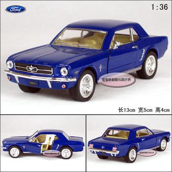 Soft world kinsmart FORD 1964 mustang blue alloy car models