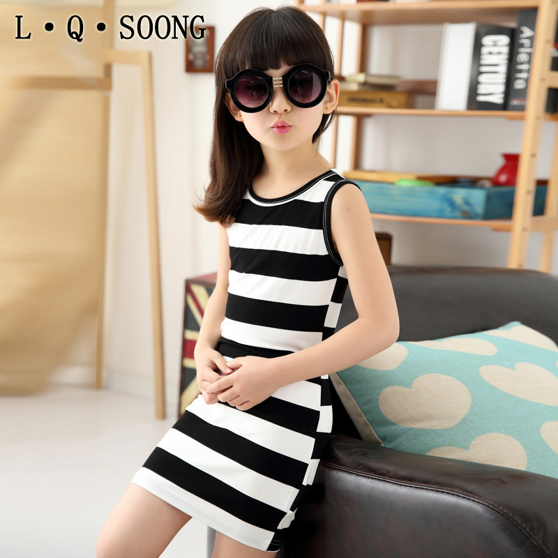L Q SOONG brands sundress Casual Girl Dress Black And White Stripes Vest Dress Girl Cotton 3-14 Years Kids Summer Dress(China (Mainland))