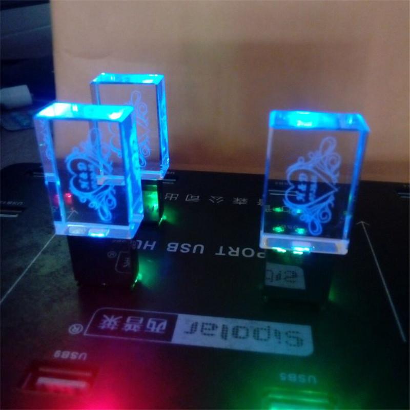 4GB 8GB 16GB 32GB 3D Custom Car Logo Transparent Acrylic Crystal Glass USB Flash Drive 2.0 LED Light Pendrive (20 pcs free logo(China (Mainland))