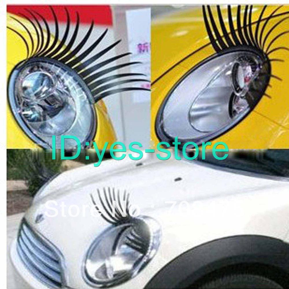 Car Front Light 3D Eyelashes Stickers Automotive Vehicle EYE Lashes Cute Unique Paster 2pcs/pair(China (Mainland))