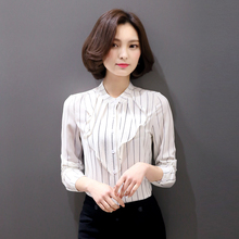 New Women Casual Summer Basic Lace Chiffon Blouse Stripe Top Shirt Patchwork OL blusas Full sleeves Work Wear Plus Size