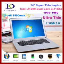 8GB DDR3+32G SSD+500G HDD 14 inch super thin laptops Intel Celeron J1800 2.41GHZ Dual Core HDMI,WIFI,Win 7