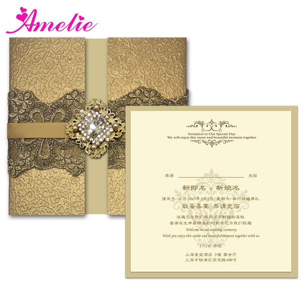 FEDEX/DHL Black Lace Wedding Cards Vintage Wedding Invitations Luxury Customized Gold Wedding Card Invitation With Free Shipping(China (Mainland))