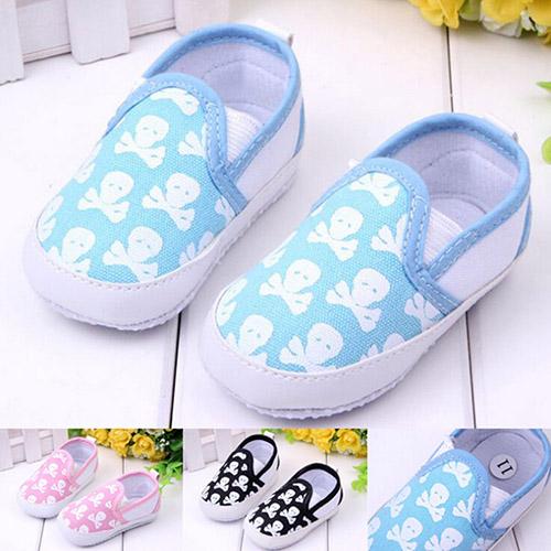 Sanwood Infant Baby Boy Girl Toddler Shoes Kid Skull Soft Sole Anti-Slip Prewalker Shoes