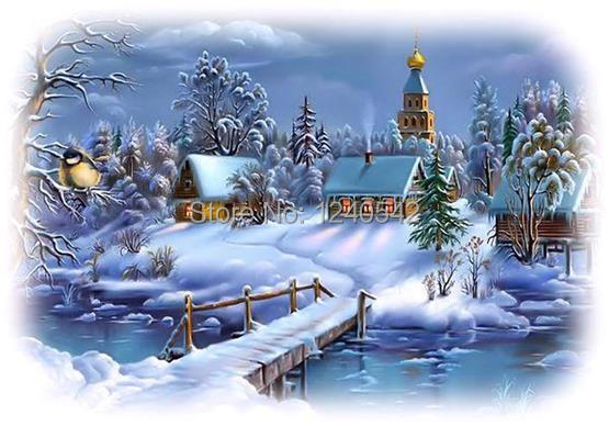 3d diamond embroidery landscape winter scenery cross stitch sewing knitting needles pictures of rhinestones home decoration(China (Mainland))