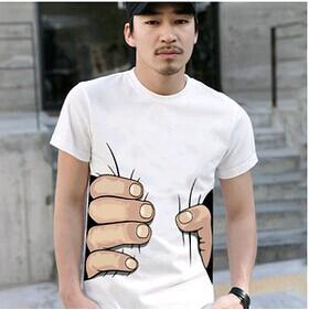 """I CATCH YOU"" 2014 NEW MEN'S WOMEN'S T-SHIRT Cotton Funny Big Hand Grab Printed Short Sleeve T Shirts TOP TEEs(China (Mainland))"