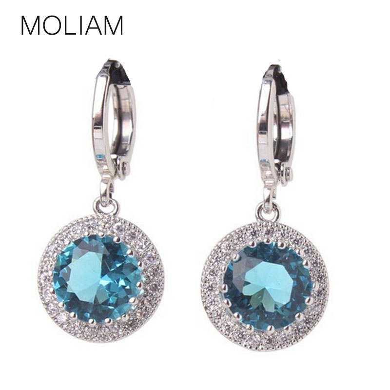 Excellent Hot Selling Antique 18K White Gold Plated Rhinestone Earrings Aquamarine Crystal Dangle Earing Free Shipping E040e<br><br>Aliexpress