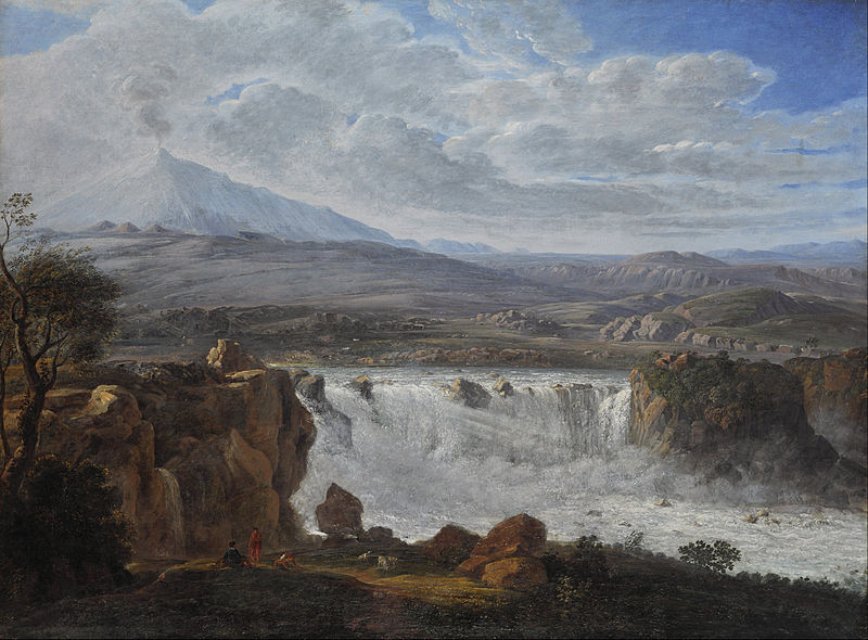 Canvas Art Prints Wall Decor Oil Painting Karl Gothard Grass - The Caracci Waterfall Near Aderno At Foot Of Mt. Etna(China (Mainland))