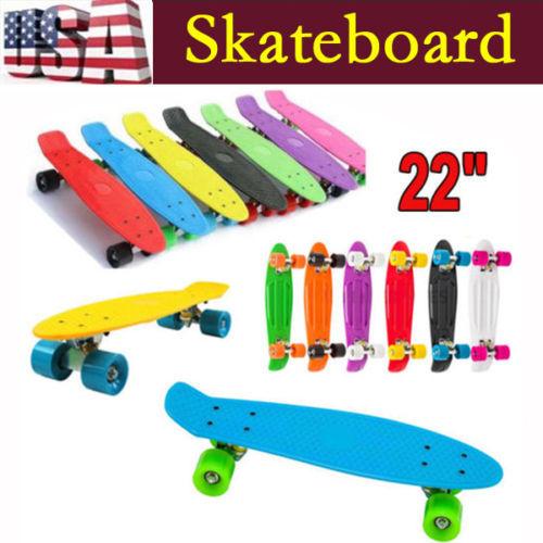 "Local Free Shipping!Original Retro Skateboard Plastic Skate Complete Deck Board 22"" x 6"" Boy Girl Cool Long Skateboard Longboard(China (Mainland))"