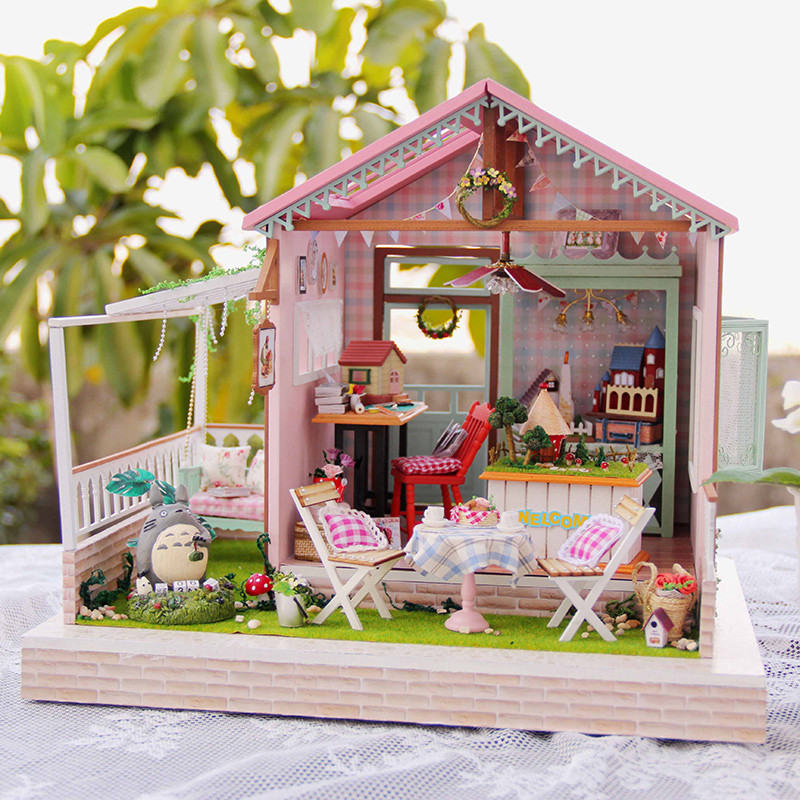 diy wooden large doll house miniature furniture house for
