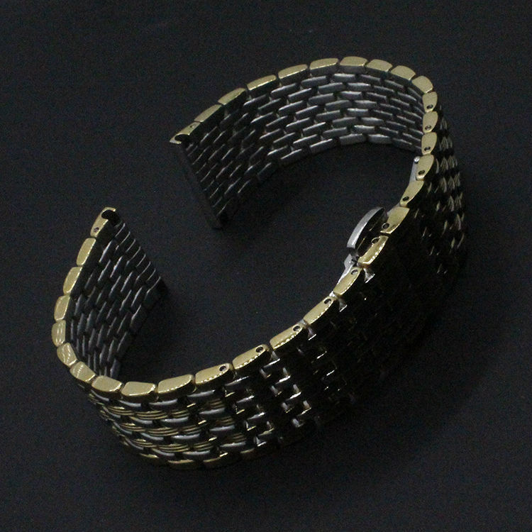 22mm 20mm 18mm New Arrival Watchband Bracelets Stainless Steel Silver With Gold Watch BANDS straps Bracelet Butterfly Buckle  <br><br>Aliexpress