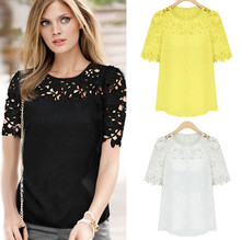 Buy 2017 Summer Women Clothing Summer New Feminine Lace Shirt Round Neck Short Sleeve Chiffon Blouse Female Tops Shirt Free for $7.66 in AliExpress store