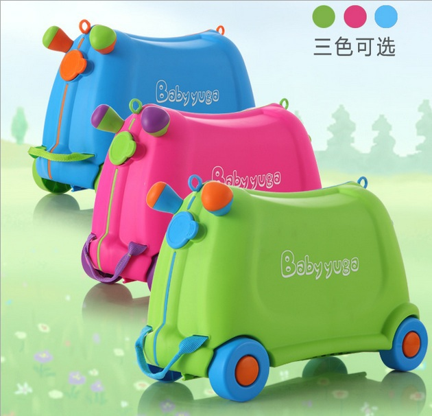 2015 fashion creative locker Outdoor boy girl baby Toy box luggage suitcase Pull rod box Can sit to ride Check box children gift(China (Mainland))