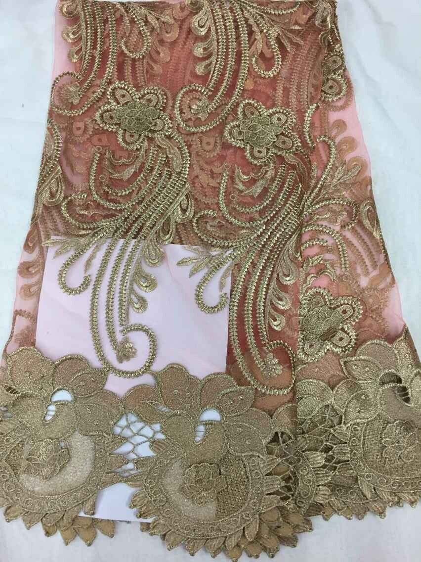 100% Cotton High quality African guipure lace trimmings / nigerian wedding african dress 5y/lot French Lace Fabric pink (4)(China (Mainland))