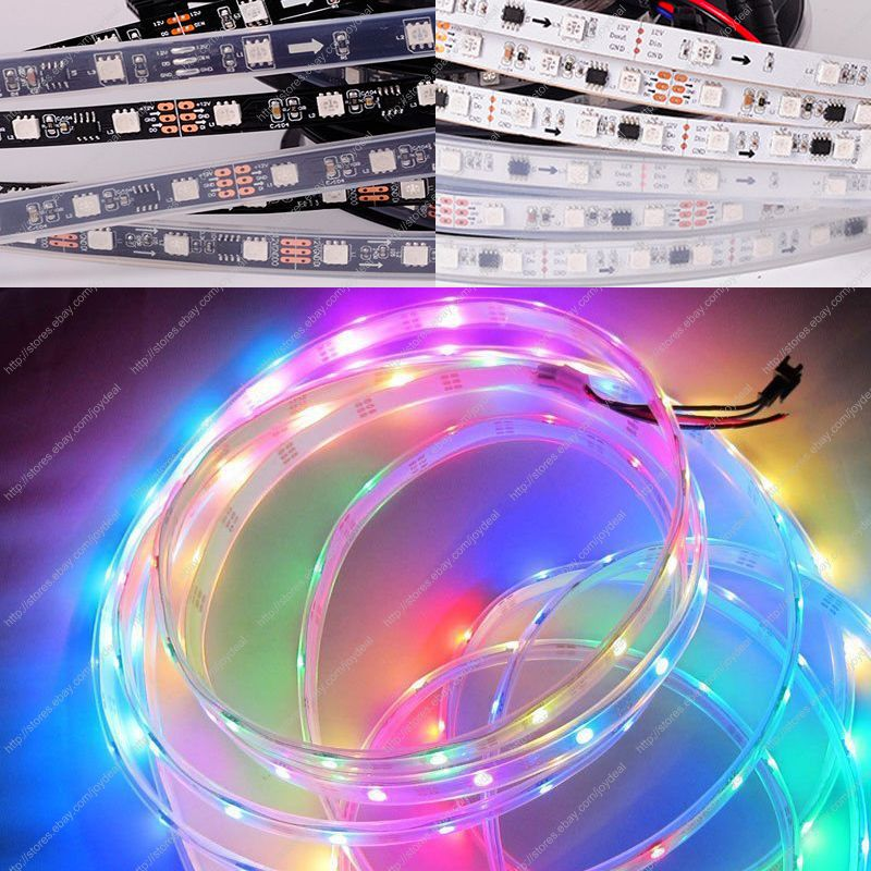 12V WS2811 5050SMD Digital RGB Dream Color Pixel LED Strip 10mm Black/White PCB,Optional Non-Waterproof/IP65 Epoxy/IP67 Silicone<br><br>Aliexpress