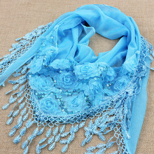 New Fashion Peony Sequin Design Lace Scarf Women scarf High Quality Autumn Winter Shawls and Scarves Wraps(China (Mainland))