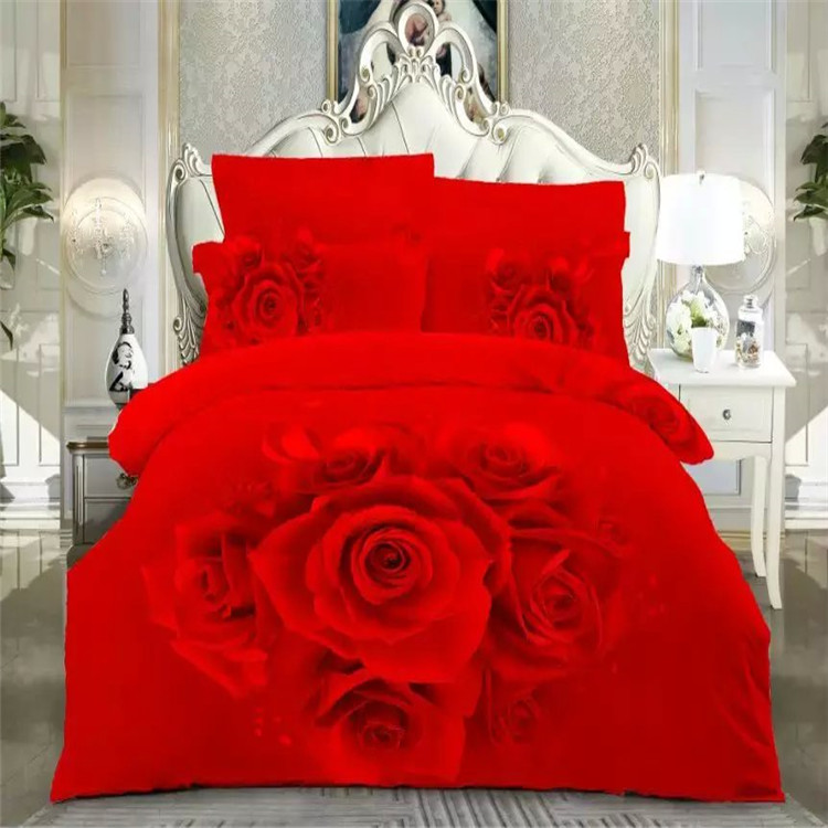 Free shipping 100%cotton 3d 4pcs red pink blue rose floral Bedding Set full/queen/king size home textile without filling(China (Mainland))