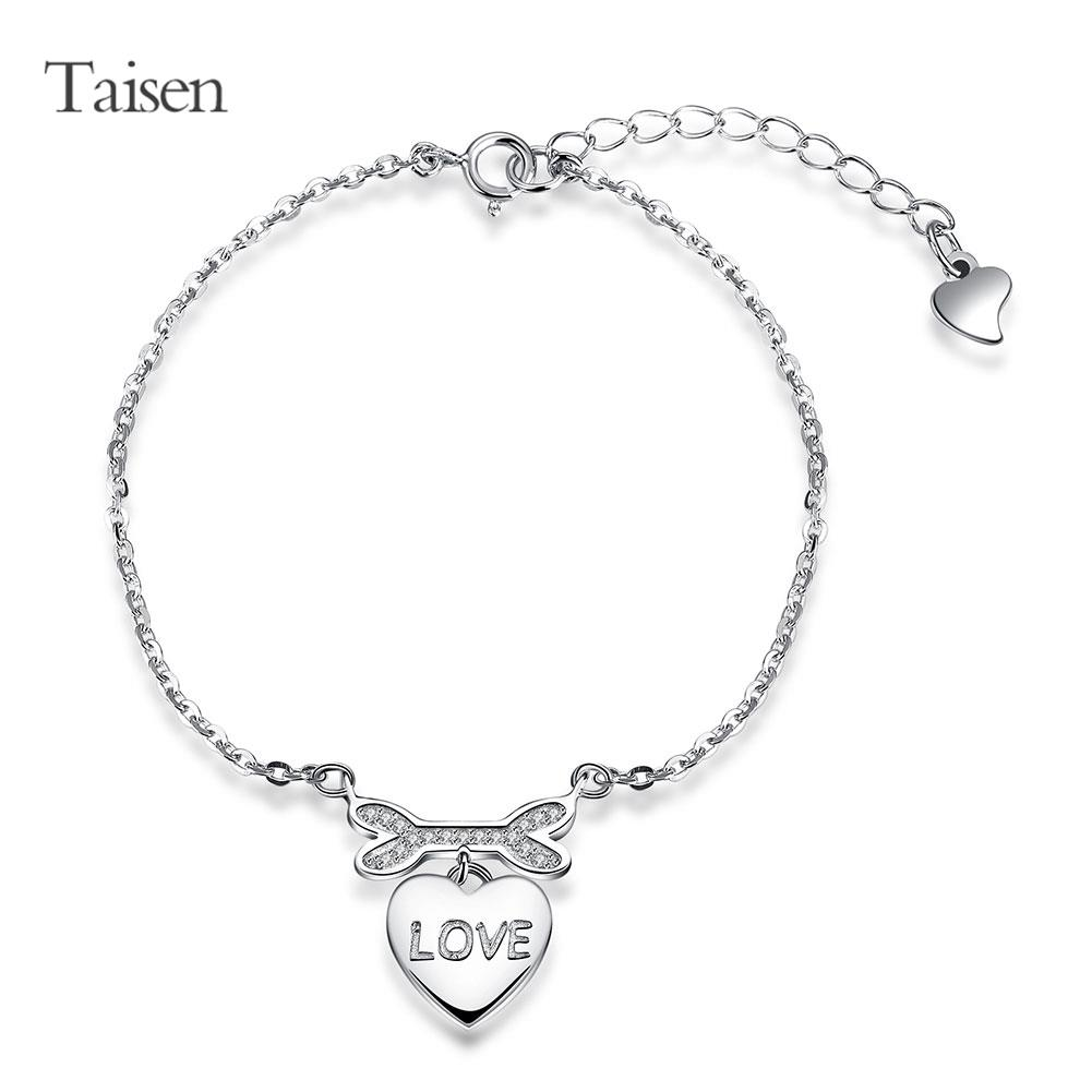 Authentic 925 Sterling Silver Bracelet For Women Luxury Romantic Crystal Peach Heart Love Bracelet Charm Hand Chain Fine Jewelry(China (Mainland))