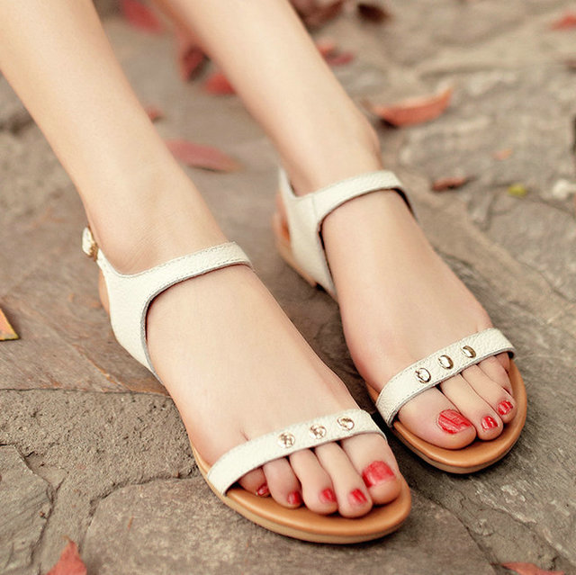 2015 Simple fashion style ladies shoes basic design genuine leather sandals casual sandals brown white <br><br>Aliexpress