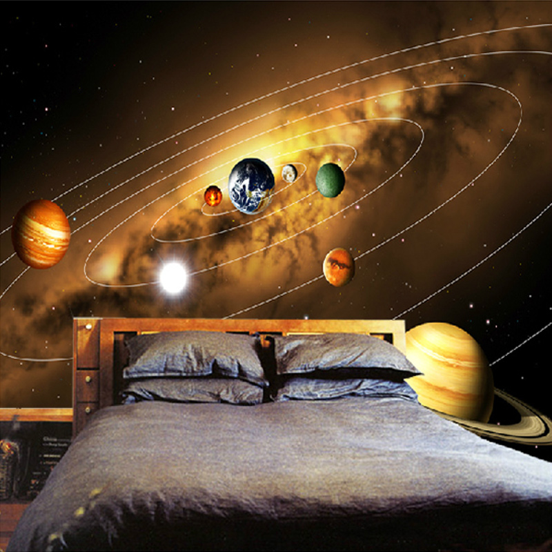 Customize Personality 3D Photo Wallpaper Living Room Sofa Backdrop Murals Modern Solar System Planet Landscape Mural Wall Papers(China (Mainland))