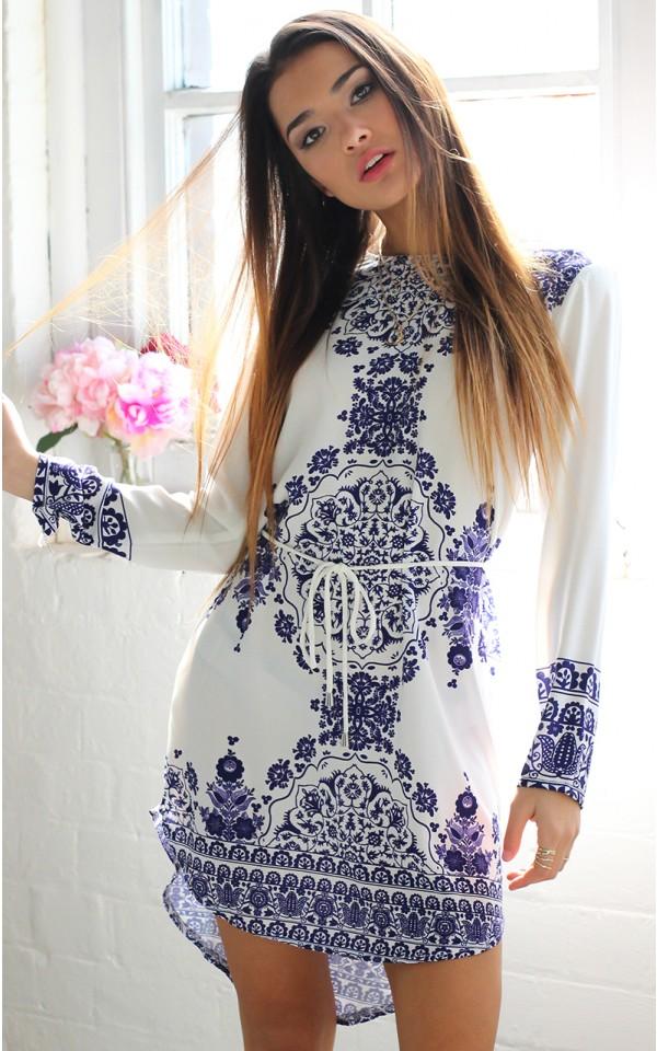 Hot sale lady modern dress 2016 latest fashion design women casual wear blue and white porcelain digital patterns printing dress(China (Mainland))