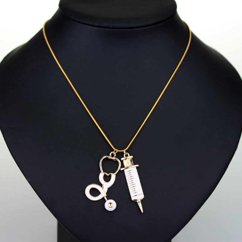 12 pcs Fashion Medical Stethoscope Syringe Pendant Necklace NEEDLE Metal Charm Pendant For Cosplay Nurses Women Jewelry Gifts