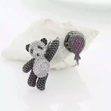 B14758 new luxurious black white crystal bear brooch Zinc Alloy 18k Rose Gold rhodium Plated With Austria crystal lady Jewelry(China (Mainland))