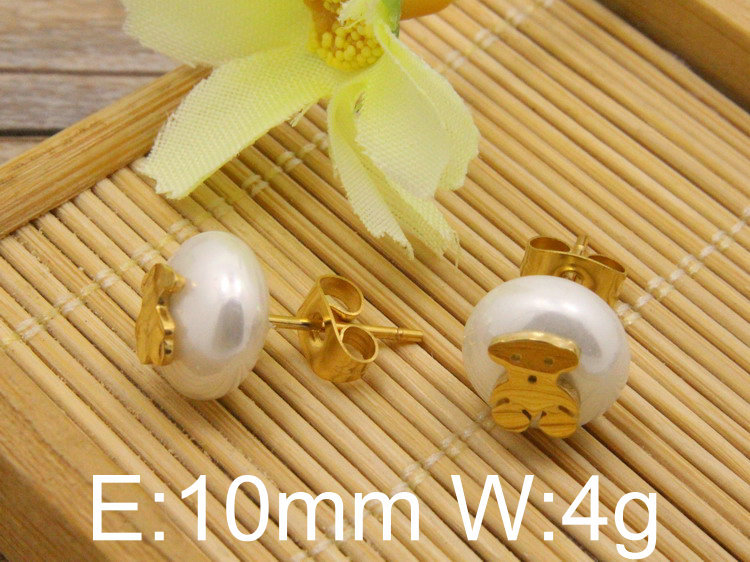 Free Shipping Stud Jewelry Earrings Pearl With Gold and silver color Bear Fashion For Women Sell EBJABQAI(China (Mainland))
