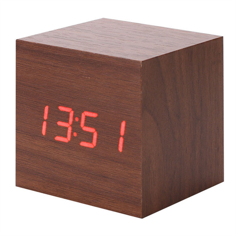 product Promotion!Home Decor Thermometer Wooden LED Clock+Alarm Clock RatedMulti-colors Best High-end Digital Clocks Desktop Clock
