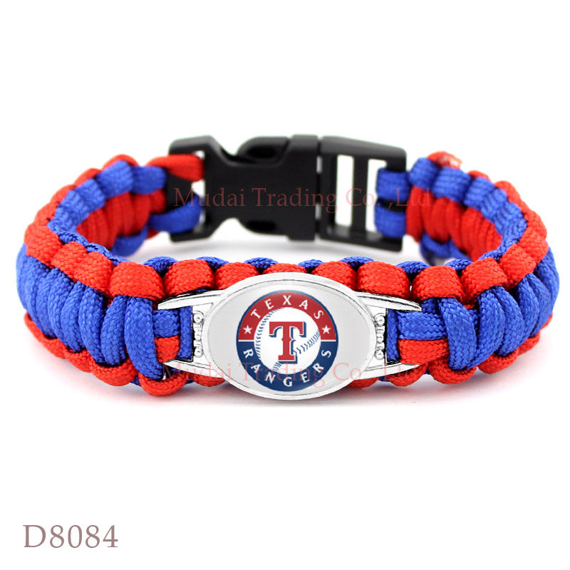 (New Fashion) Texas Baseball Team Rangers Paracord Survival Friendship Outdoor Camping Sports Bracelet Royal Blue Red Cord(China (Mainland))