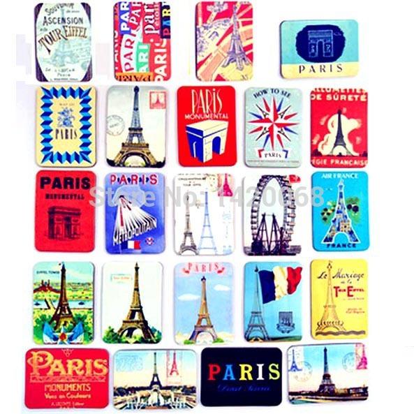 Fridge magnet France Paris 24 pcs / set Eiffel Tower Travel refrigerator magnetic sticker souvenir Z(China (Mainland))