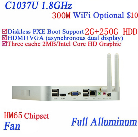 Popular mini pc systems windows7 linux with Celeron dual core C1037U 1.8GHz extreme ultra-thin chassis 2G RAM 250G HDD(China (Mainland))