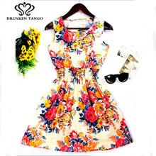 New Brand 2016 Summer Women dress Casual Print Sleeveless Dress Chiffon stripe floral print Elastic Waist Bohemian Beach Dresses(China (Mainland))