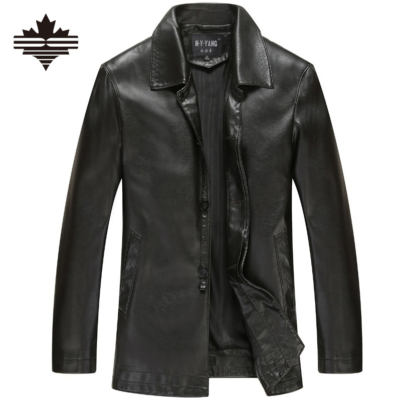Men's Leather Jackets Spring and Autumn Black Leather Jacket For Men Faux Leather Coats Loose Big Size PU Jackets Overcoats(China (Mainland))