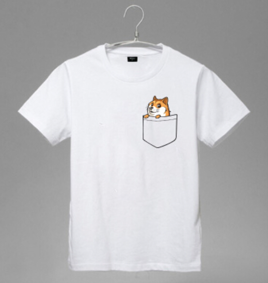 Shiba inu dogs clothes creative dog pocket t shirt for Pocket t shirt printing