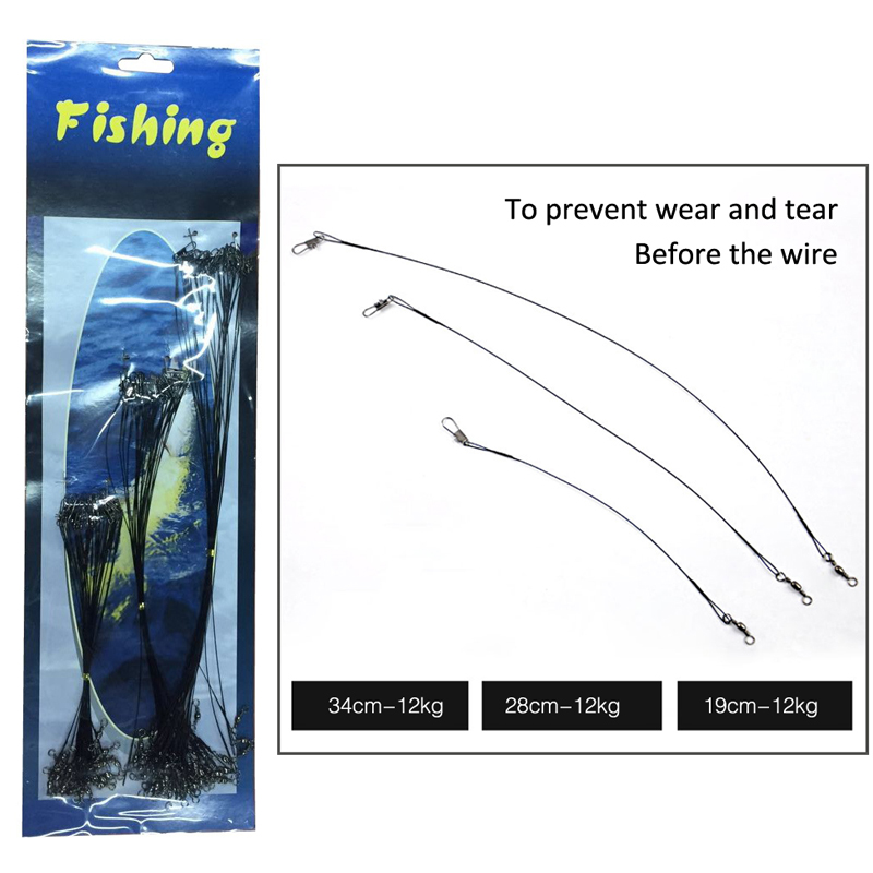 Free Shipping 72 pcs Fishing Trace Lures Leader Steel Wire Spinner 15/23/30cm Black(China (Mainland))