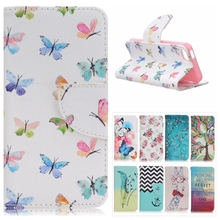Butterfly Pattern Leather Case for Apple iPhone SE 5SE Colored Flower Flip Stand Wallet Cover for iPhonese Card Slot Phone Cases