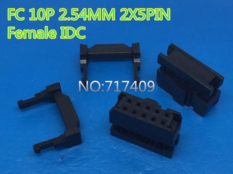 50 Pcs Per Lot 2.54mm Pitch 2x5 Pin 10 Pin IDC FC Female Header Socket Connector FC-10<br><br>Aliexpress