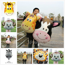 Large 2pcs/lot Animal Head Balloons Tiger & Lion & monkey & zebra & deer & cow Helium Balloon birthday party decoration
