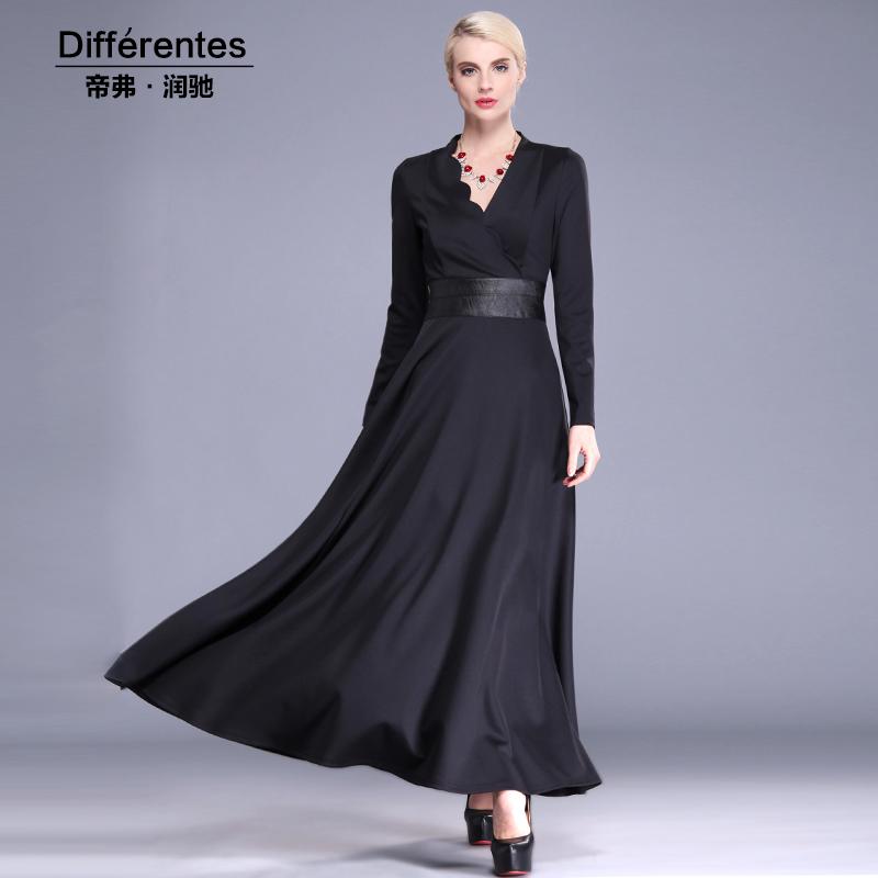 Plus size womens clothing 2015 spring autumn one-piece dress solid color slim V-neck ol elegant ladies long sleeve length dressОдежда и ак�е��уары<br><br><br>Aliexpress