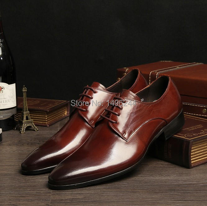 Фотография TOP new british style real cowhide leather qshoes shoes mens brand business dress luxury men fashion pointed-toe shoe y203-503