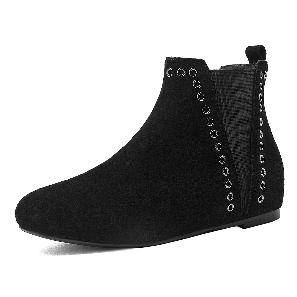 Фотография Ankle westren boots size 42 43 cut-outs design elastic band women shoes high-quality genuine leather med heel zapatos mujer