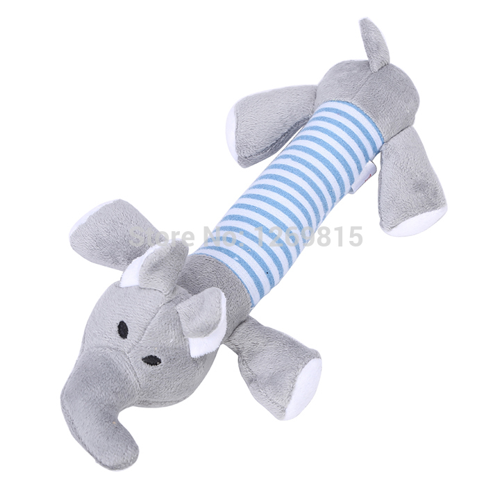 New Dog Toys Pet Puppy Chew Squeaker Squeaky Plush Sound Duck Pig Elephant Toys 3 Designs