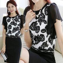 Fashion Chiffon Women Blouses 2016 Summer Sale Short Sleeved Office Lady Shirt Brand New Women Tops Unlined Upper Garment DD0235(China (Mainland))