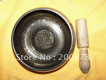 TBC838  Super healing Tibetan brass singing bowl Tibet Handmade Metal Buddhist Crafts 5'' Resale & Wholesale Free shipping
