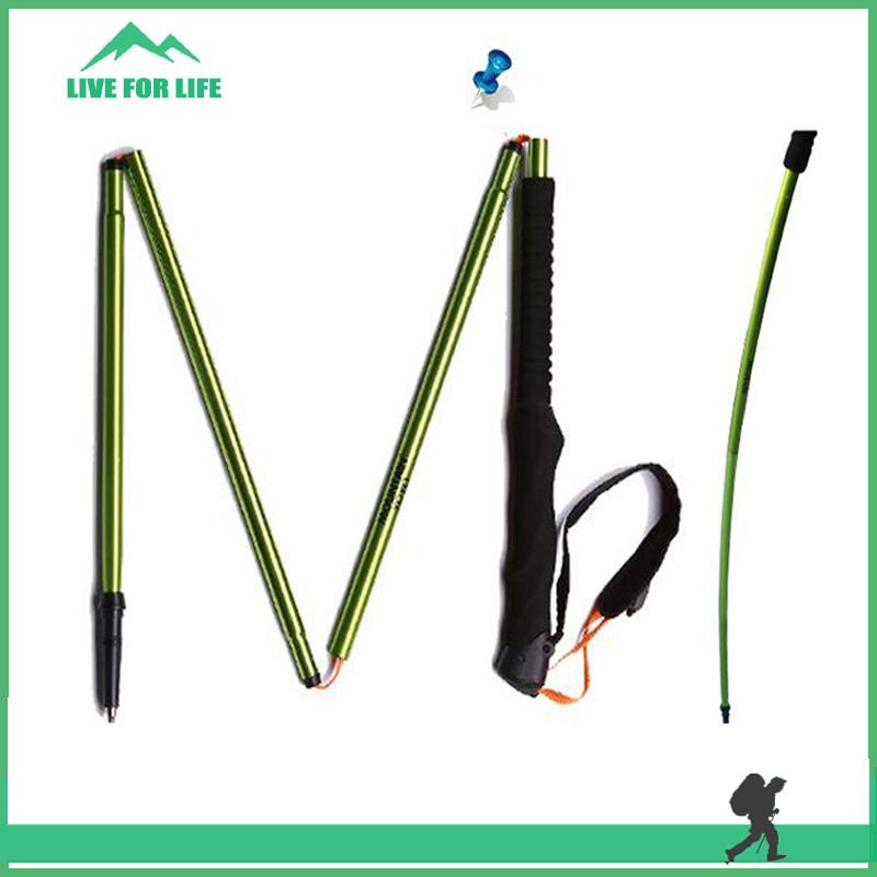 Foldable Folding Handle 4 Sections Alpenstock Lightweight Adjustable Cane Walking Sticks(China (Mainland))
